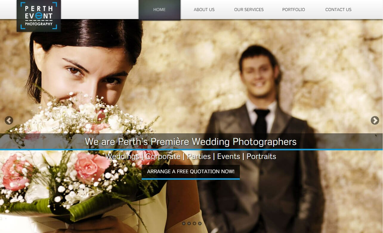 wedding photographers perth website screenshot